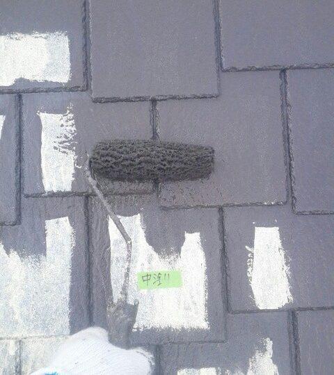 屋根塗装/中塗り