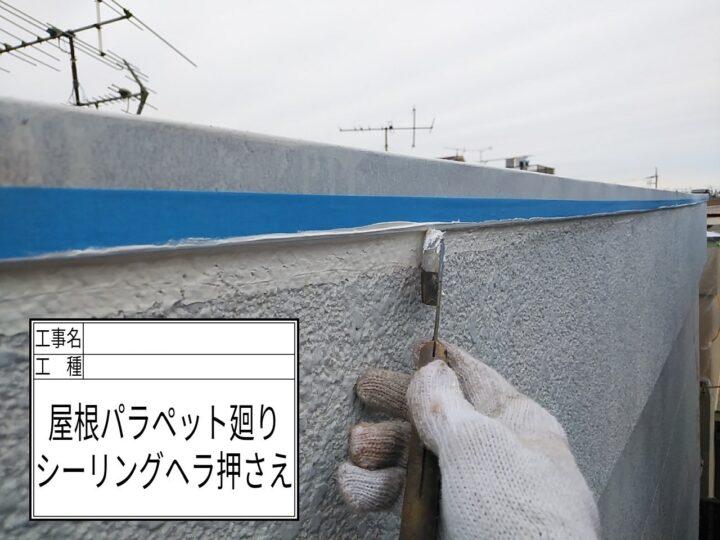 コーキング増打ち(屋根パラペット)③