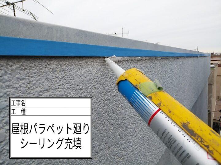 コーキング増打ち(屋根パラペット)②